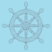 Detailed Grey Outlines Nautical Rudder Isolated On Blue Background. Ship Element. Vector Illustratio