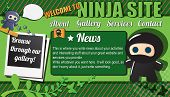 Website template design elements, with ninja characters, vector illustration