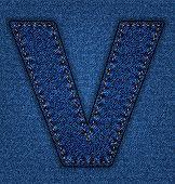 Jeans alphabet letter V