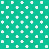 White Polka Dots On Teal Textured Fabric Background