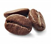 stock photo of coffee crop  - Brown coffee beans isolated on white background - JPG