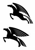 stock photo of winged-horse  - Fantasy winged horses in silhouette style for tattoo or heraldry design - JPG