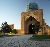 Bibi Khanym mosque at sunset. Samarkand, Uzbekistan