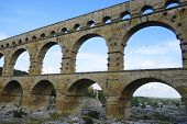 The Pont du Gard, ancient Roman aqueduct bridge build in the 1st century AD in southern France
