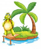 Illustration of an island with a turtle standing above the wooden bridge on a white background