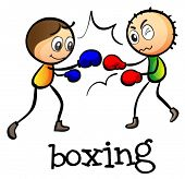 Illustration of the two stickmen boxing on a white background