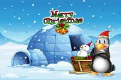 Illustration of a snowman and a penguin in front of the igloo