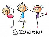 Illustration of the stickmen doing gymnastics on a white background
