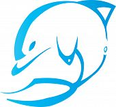 stock photo of porpoise  - Dolphin tribal design for tattoo art  - JPG