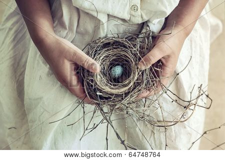 Girl Holding Blue Speckled Egg In Bird Nest On Lap poster