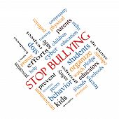 pic of stop bully  - Stop Bullying Word Cloud Concept angled with great terms such as students cyber safety and more - JPG
