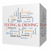 Texting And Driving 3D Cube Word Cloud Concept