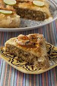 Fresh baked Moroccan fish pastilla