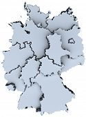 Map of Germany sixteen states German republic Deutschland