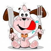 Cartoon puppy dog with knife & fork