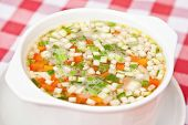 picture of scallion  - Chicken soup with carrot scallion and potato - JPG