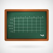 School Timetable On Chalkboard Vector Illustration