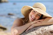 Happy Woman With White Smile Looking Sideways On Vacations