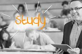 The word study against lecturer standing in front of his class in lecture hall