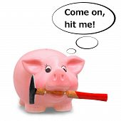 Piggy Bank Holding Hammer In His Mouth