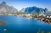 Scenic Town Of Reine On Lofoten Islands In Norway
