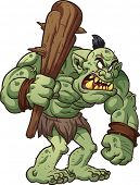 picture of goblin  - Big cartoon troll holding a club - JPG