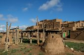 pic of pueblo  - Houses in Taos Pueblo in New Mexico USA - JPG