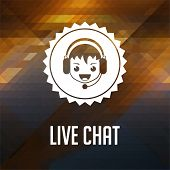 Live Chat. Retro label design.