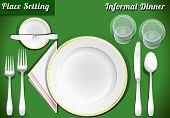 Set Of Place Setting Informal Dinner