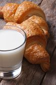 Breakfast: Milk And Croissants Macro. Vertical