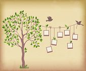 picture of interior sketch  - Memory tree with photo frames. 
