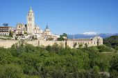old town of Segovia, the tower that stands out is part of the cathedral, Castilla Leon, Spain