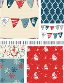 Seamless Vector Nautical Patterns. Use as fills, digital paper, or print off onto fabric to create u