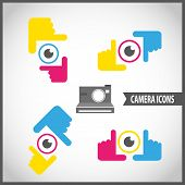 framing hands camera icon set