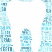 tooth shaped vector tag cloud illustration - dental care concept