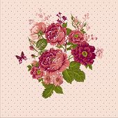 Vintage Roses Background with Butterflies