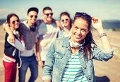 stock photo of teenagers  - summer holidays and teenage concept  - JPG