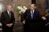 NEW YORK-APR 21, 2014: Police Commissioner William Bratton and ESB Gen. Manager Joe Bellina at cerem