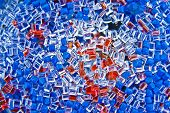 plastic polymer granule product blue and red