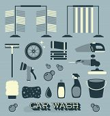 Vector Set: Car Wash Labels and Icons