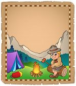 Parchment with scout by campfire - eps10 vector illustration.