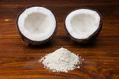 Coconut halves and shredded coconut