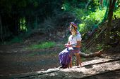 MAE HONG SON, THAILAND - DEC 4, 2013: Unidentified Karen tribal woman in Mae Hong Son, Thailand, Chi
