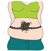 An image of a woman with stomach tied in knots.