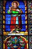 Stained glass window in the Cathedral Basilica of Saint Francis of Assisi