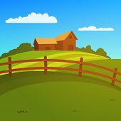 stock photo of farm landscape  - Landscape with farm and fence - JPG