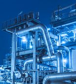 picture of chimney  - Refinery industrial plant with Industry boiler at night - JPG