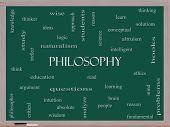 Philosophy Word Cloud Concept On A Blackboard