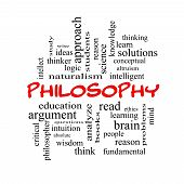 Philosophy Word Cloud Concept In Red Caps