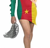 Futuristic Young Woman With Flag From Cameroon On Her Dress
